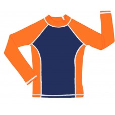 Navy /Orange UV Long Sleeve Swim Shirt